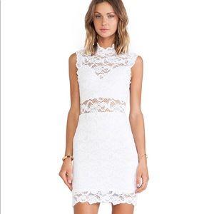 Nightcap Dixie Lace Cutout Dress in nude blush